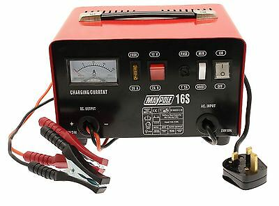 New MAYPOLE MP716 12A Metal Battery Charger 12/24V Fast/Boost Mode Robust Steel 3
