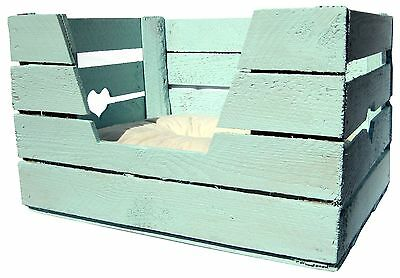 KATZENKORB Katze Hund Tierbett ALTE OBSTKISTE Holzkiste Shabby Chic Pastell BLAU 7