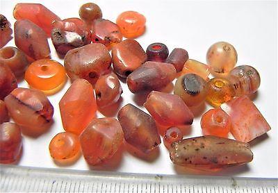 Zurqieh -Af1650- Ancient Egypt ,  Beautiful Lot Of 48 Carnelian Beads. 1400 B.c