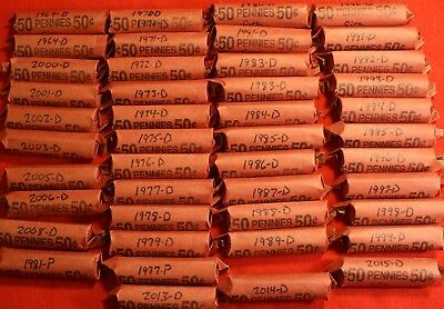 1990-D Lincoln Memorial Cent Penny 50 Coin Roll Circulated 4