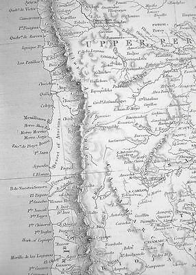 CHILE La Plata Part of Bolivia - c. 1835 Original Map 11 x 16""
