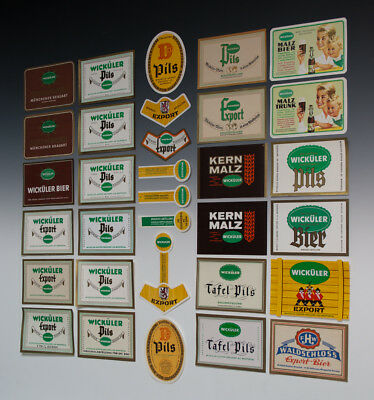 32 x verschiedene Etiketten WICKÜLER BIER um 1955-1968 8