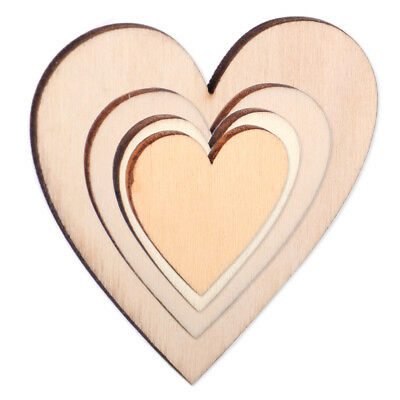 50Pcs Wooden Love Hearts Embellishments for Wedding DIY Decor Craft 22x3mm