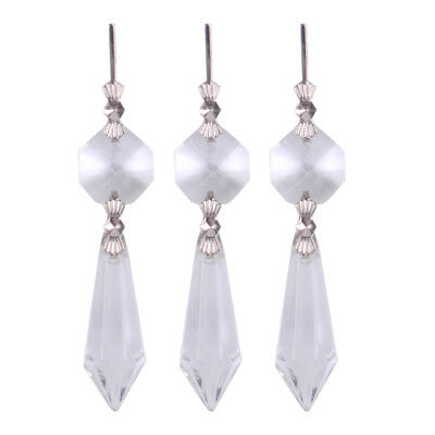 """20pc 7/"""" Clear ICICLE Crystal Chandelier Lamp Lighting Prisms Pendants Glass Drop"""