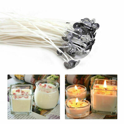 100 x 15cm Long Pre Waxed Wicks For Home Candle Making Cotton With Sustainers UK 11