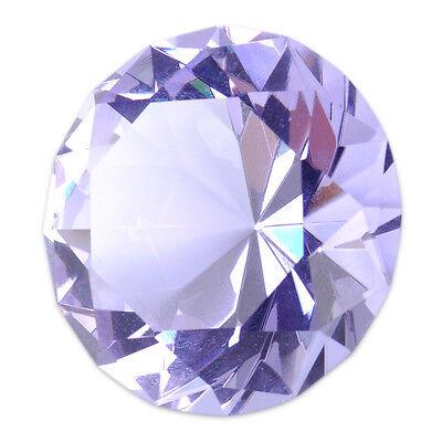 40mm Purple Crystal Glass Cut Diamond Jewel Paperweight Wedding Decoration