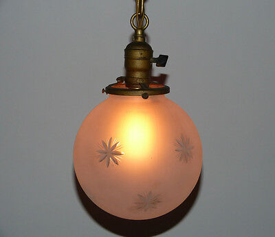 Gold Painted Brass Pendant Light with Acid Etched Wheel Cut Glass Shade GE 2