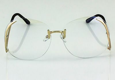 a586861bfa2 ... OVERSIZED Rimless VINTAGE Style Clear Lens SUN GLASSES Upside Down Gold  Frame 4