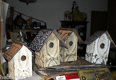 SALE Primitive Antique Ceiling Tin Tile Bird House Hand Tooled USA Chic Fleur De 8