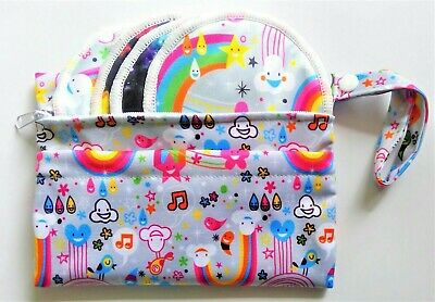 2 Pocket Double Zip Wet /Dry Waterproof Nappy Bag Hot Pink Narwhal Rainbow Small 4