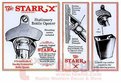 Red Embossed IN CASE OF EMERGENCY Starr X Wall Mount Bottle Opener Cast Iron 4