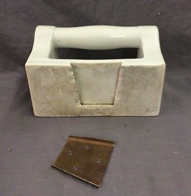 Vtg Ceramic White Porcelain Soap Dish Grab Bar Wall Mount Old Fixture 21-19D 10