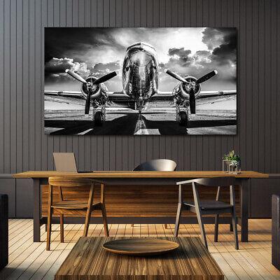 Flugzeug Retro Bild auf Leinwand Wandbild Kunstdruck 736 Wohnzimmer Deko