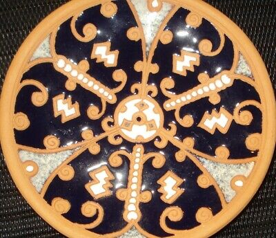 Vintage Bonis Greek Pottery Plate Blue Talavera Design Nr 3