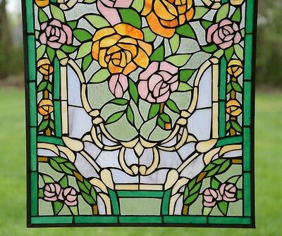 "Rose Flower Tiffany Style stained glass window panel,  20"" x 34"" 7"