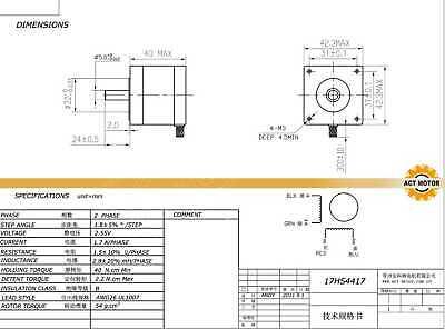 October Sale! 3PCS Nema17 17HS4417 Schrittmotor 1.7A 40mm 0.4Nm Φ5mm Bipolar 3