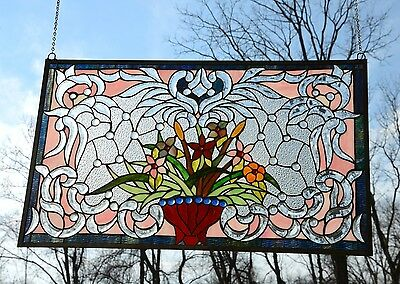 "34.75""L x 20.75""H Tiffany Style Beveled stained glass window panel Flower 12"