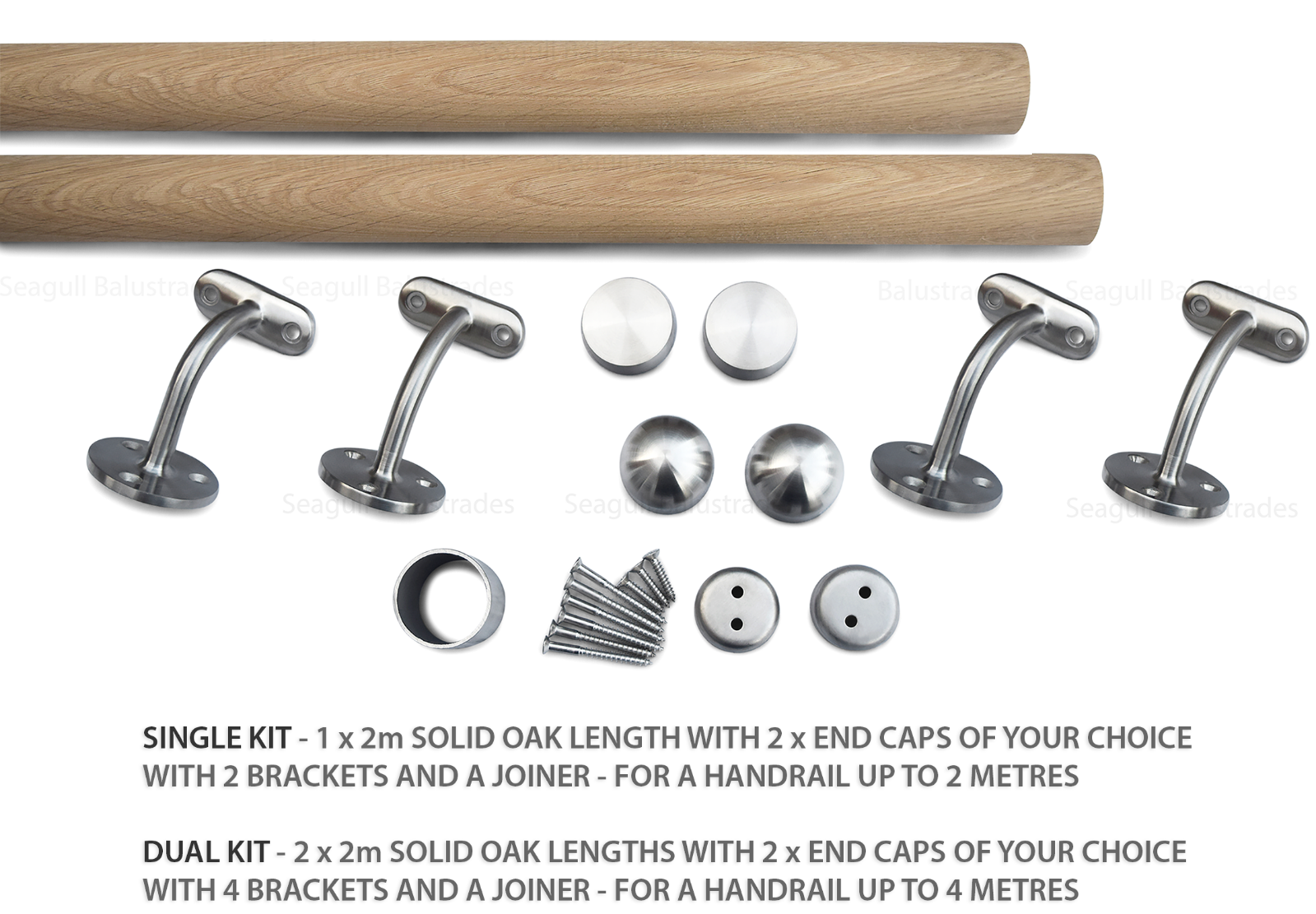 Select Length with Classic Domed End Caps Satin-Polish Brushed Stainless Steel Stair Handrail Pre-assembled