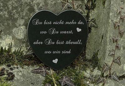 Grabschmuck Trauerspruch Gedenkstein Marmor Du bist nicht mehr da - Herz 12,5cm 2