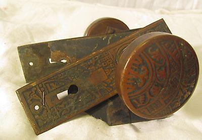 antique door handle and lock mechanism, tulip design, neat 3