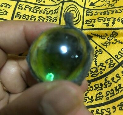 Crystal Pink Naga Eye Gems With Casing Thai Amulet Buddha Talisman Necklace K299
