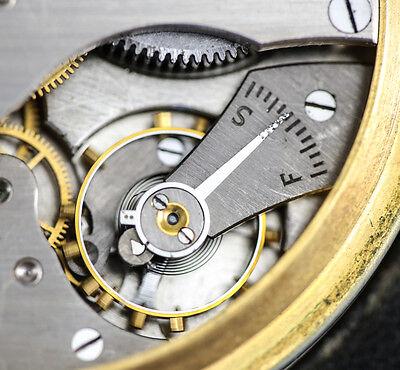 American Elgin 8 Day Travel Clock Keystone case body Gilt silveroid Leather case 6