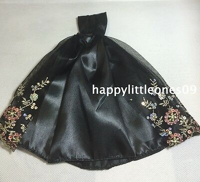 Embroidered Barbie Doll Wedding Party Evening Dress/Clothes/Outfit Black New 3