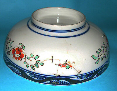 Antique Japanese Pottery - Attractive Pattern (Hand Painted) Rivet Repair BOWL 4