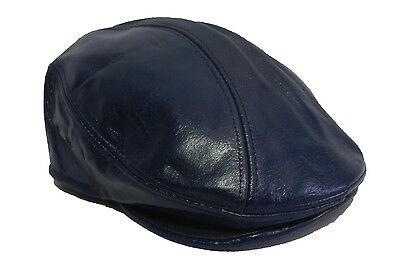 3df284ce410 ... 100%genuine Leather Snap Brim Newsboy Ascot Ivy Driving Golf Cap Hat  Made In Usa