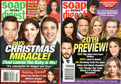 HUGE LOT OF 20 Current 2019 Soap Opera Digest Magazines Y&R B&B GH DAYS TV  Soaps