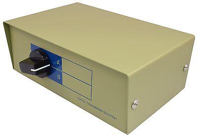 DB25X 2 WAY MANUAL ROTARY DATA SWITCH BOX FEMALE CROSS TYPE METAL CASE  NIB