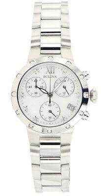 Bulova Women's 96R202 Quartz Diamond Accents Chronograph Silver-Tone 30mm Watch 3