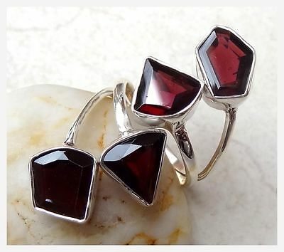GENUINE 925 Sterling Silver GARNET Semi Precious GEMSTONE RING SIZE 8 ~ P 1/2