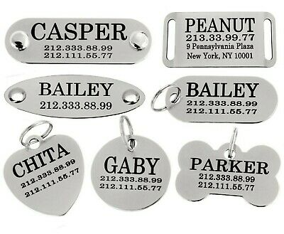 Pet ID Name Personalised Dog Tag Custom Engraved Cat Tags Stainless Steel S M L 2