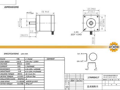 DE Free 3PCS Nema17 Schrittmotor 17HM5417 1.7A 48mm 0.9°  Φ5mm 60oz-in  Bipolar 2