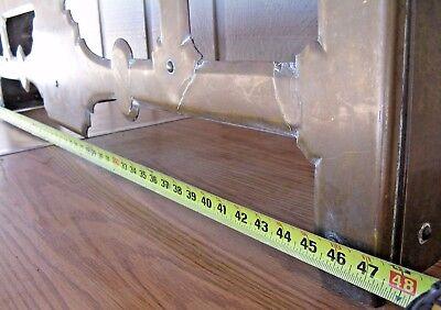 "Antique 19th Century Brass Fireplace Fender Guard w Interior Brackets,47 x 12"""