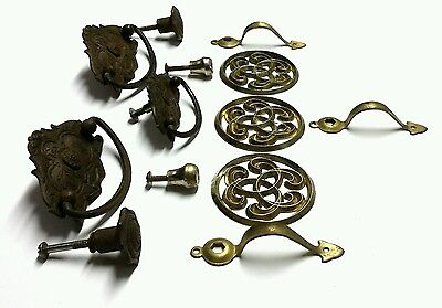 Vtg Antique Brass Medallion Metal Decorative Drawer Cabinet Door Pull Lot Of 13 2