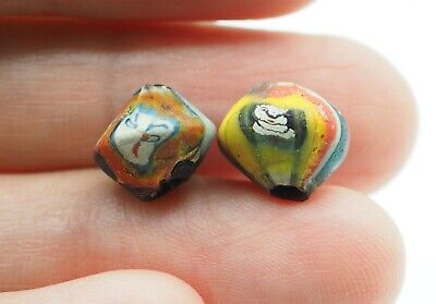 Stunning Phoenician Style Pair Of Antique Blue Yellow Face Islamic Glass beads 8