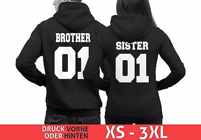 Pärchen Hoodie BROTHER 01 SISTER 01 Best Friends Pullover Geschwister Couple WOW