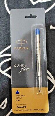 3X Parker Quink Flow Ball Point Pen BP Refill Refills Fine Nib Blue Ink 3
