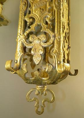 Ornate Heavy Brass Figural Knights Spanish Revival Gothic Tudor Chandelier Light 4