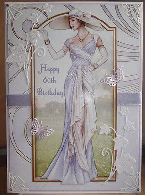 Art Deco Personalised Handmade 60Th Birthday Card A Elegant Lady In Lilac 3