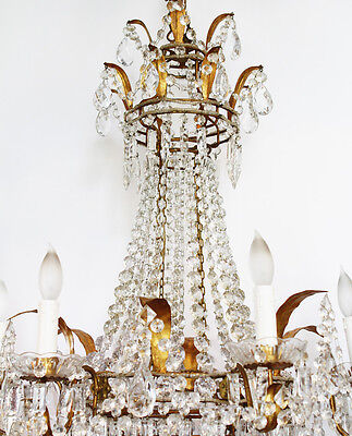 Incredible Xlrg ANTIQUE Italian Beaded CHANDELIER Light GORGEOUS Rare! 3