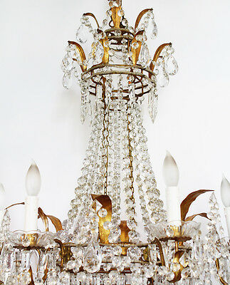 RARE Incredible Xlrg ANTIQUE Italian Beaded CHANDELIER Light GORGEOUS 3