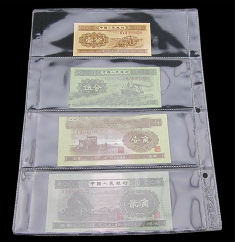 10X Paper Money Banknote Holders Album 4 Pockets Pages Sleeves Storage Note AU 3