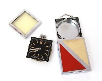 Art Deco Folding Travel Clock Red & Cream Enamel PART & REPAIR 5