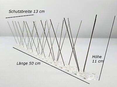 Taubenabwehr, Taubenspikes, 3-reihig auf 50 cm Polycarbonatleiste, made in EU