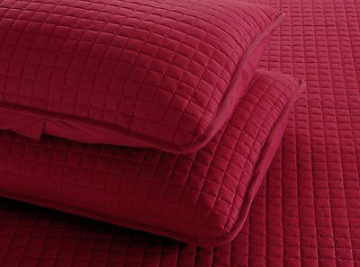 5 Of 6 Burgundy Red Solid Color Hypoallergenic Quilt Coverlet Bedspread  Twin Queen King