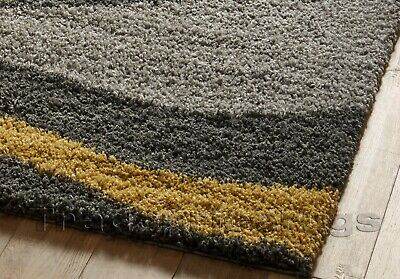 Small - X Large Thick Grey Silver Ochre Mustard Yellow Waves Modern Shaggy Rug 2