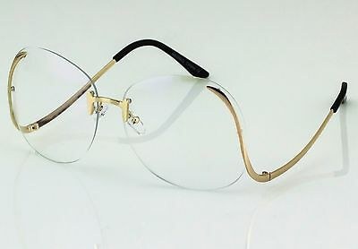 1c5d00b193c ... OVERSIZED Rimless VINTAGE Style Clear Lens SUN GLASSES Upside Down Gold  Frame 5